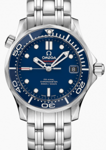 Steel Omega Seamaster Diver 300M Co-Axial Blue Dial Replica Watches