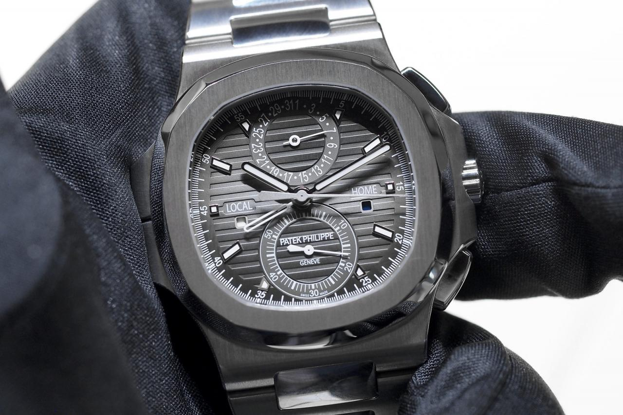 Black Dial Patek Philippe Nautilus Travel Time Chronograph Steel Watch Replica Watch