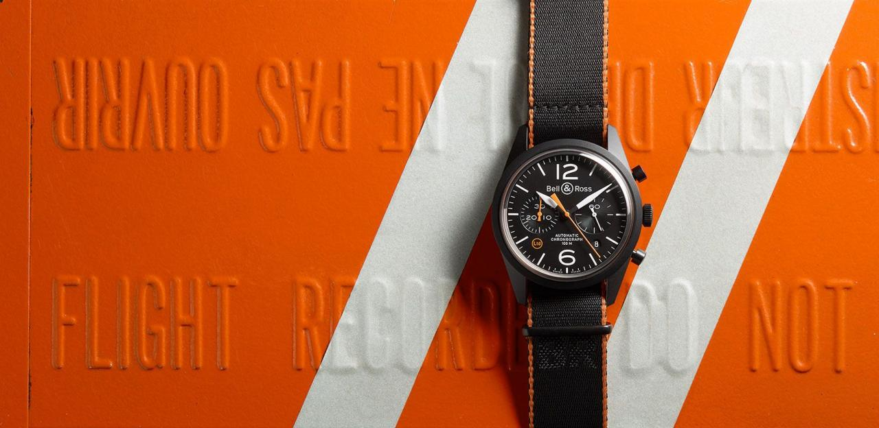 Black Dial Bell & Ross BR 126 Carbon Orange Replica Watch
